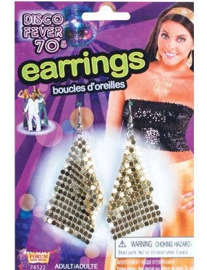 Gold Mesh 1970'S Disco Earrings Costume Accessory