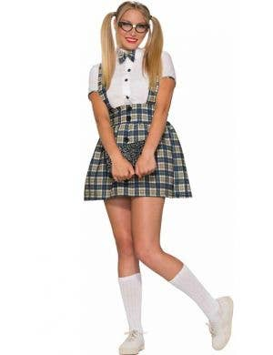Women's Retro Tartan Girl Geek School  Uniform Front View