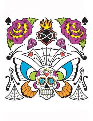 Sugar Skull Day Of The Dead Temporary Tattoo's