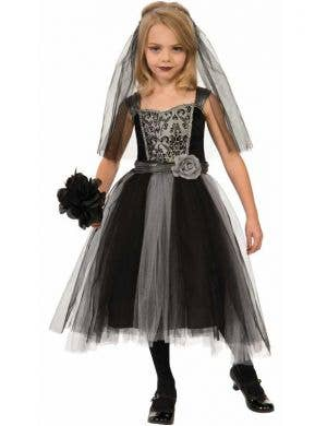 Girl's Gothic Bride Black and Grey Halloween Fancy Dress Front
