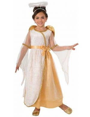 White and Gold Girl's Angel Fancy Dress Costume Front View