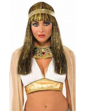 Cleopatra Gold Tinsel Wig with Headband Costume Accessory