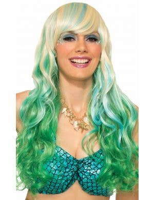Mermaid Green and Blonde Women's Wavy Wig