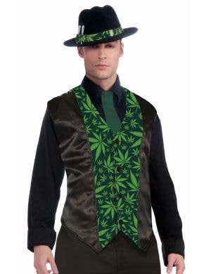 Marijuana Print Satin Men's Novelty Vest