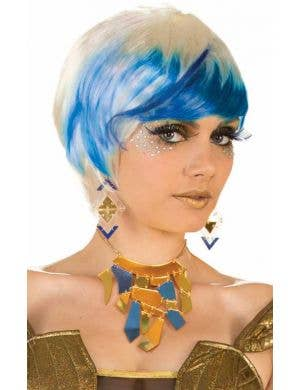 Futuristic Blonde and Blue Women's Costume Wig