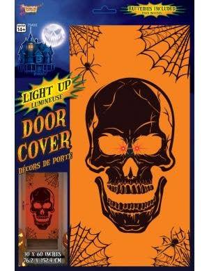 Light Up Orange Skull Door Cover Halloween Decoration