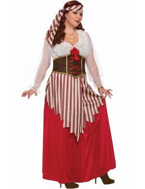 Pirate Wench Long Red Women's Plus Size Costume
