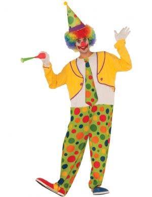 Men's Colourful Spotty Clown Costume Image 1