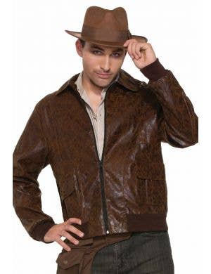 1940's Men's Brown Faux Suede Bomber Costume Jacket
