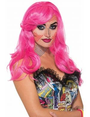 Katie Kapow Long Curly Pink Women's Pop Art Costume Wig