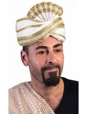Sultan Deluxe White and Gold Turban Hat