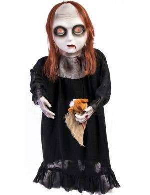 Zombie Girl with Teddy Bear and Light Up Eyes Halloween Decoration
