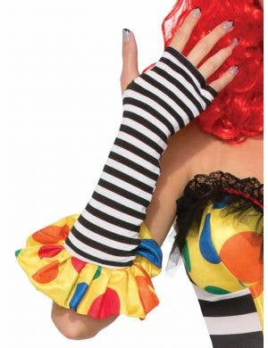 Evil Clown Black and White Striped Costume Gloves
