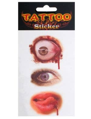 Bloody Eyes and Lips Halloween Tattoos Costume Accessory