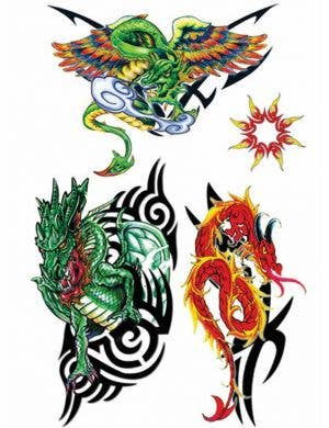 Dragon and Tribal Temporary Tattoos Costume Accessory