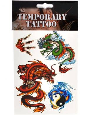Elemental Dragon Set of 4 Temporary Tattoos