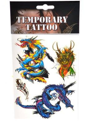 Oriental Dragon Set of 4 Temporary Tattoos
