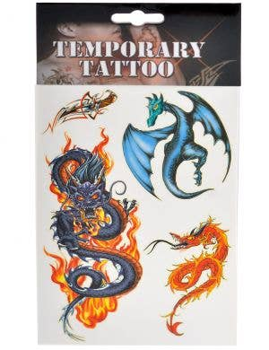 Fantasy Dragon Set of 4 Temporary Tattoos