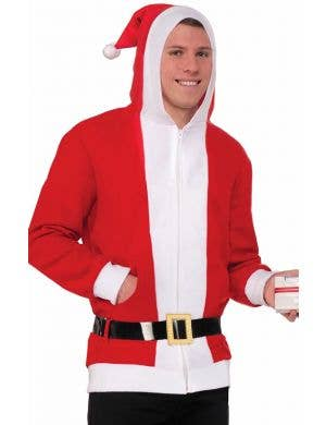 Red and White Father Christmas Costume Jumper for Adult's