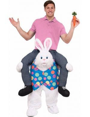 Hop On Top Easter Bunny Ride On Piggyback Costume For Adult's