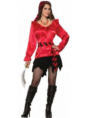 Satin Red Women's Pirate Blouse Costume Top