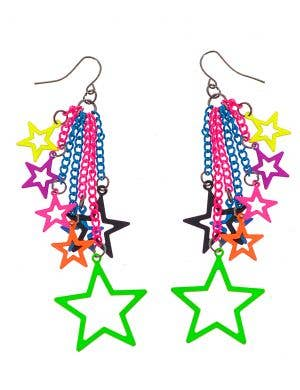 1980s Neon Rainbow Stars 10cm Drop Costume Earrings