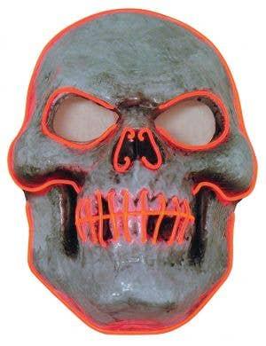 Evil Orange Skull LED Light Up Halloween Costume Mask