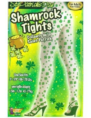 White And Green Shamrock St Patrick's Day Full Length Tights