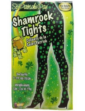 Black And Green Shamrock St Patrick's Day Full Length Tights