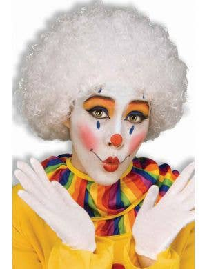 Frizzy Women's White Clown Afro Costume Wig