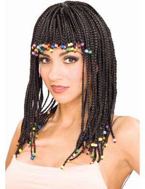 Beaded Black Cornrow Women's Costume Wig