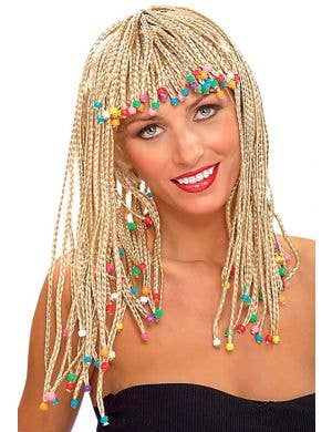Beaded Blonde Cornrow Wig