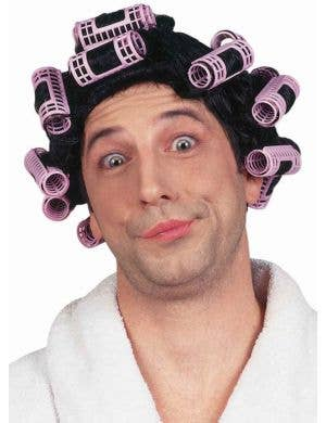 Funny Adult's Pink Curlers Costume Wig
