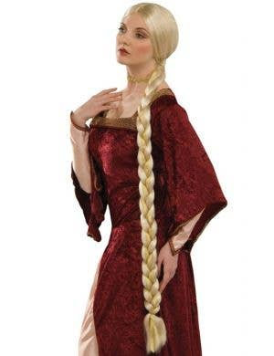Long Plaited Blonde Princess Costume Wig