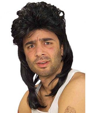 80's Heart Throb Men's Black Mullet Wig