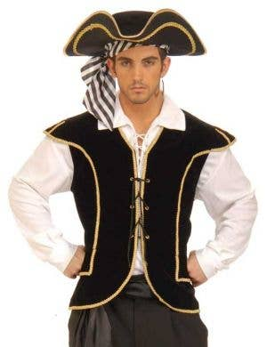 Men's Black Buccaneer Pirate Costume Vest Front