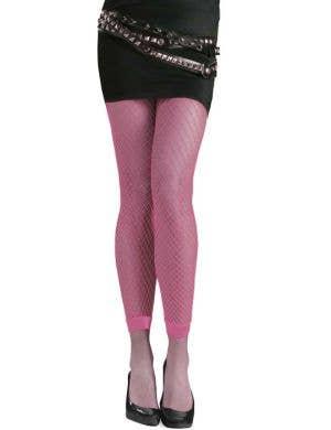 Neon Pink Footless Fishnet Stockings