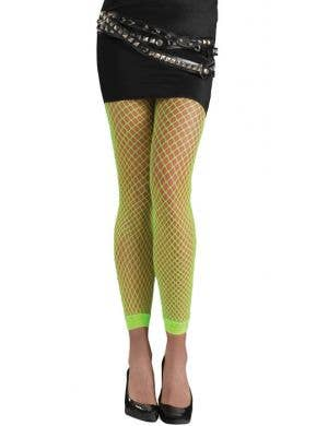 Neon Green Footless Fishnet Stockings