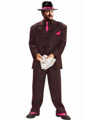 1920's Men's Pinstriped Pink Gangster Costume