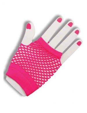 80's To The Maxx Neon Pink Fishnet Gloves