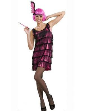Pink and Black Fringed 1920's Women's Flapper Dress Front