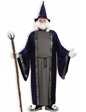 Plus Size Men's Medieval Wizard Fancy Dress Costume Front