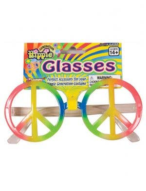 Rainbow Peace Sign Hippie Costume Glasses