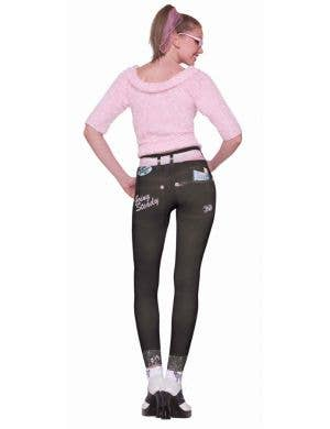 50's Women's Retro Skinny Leggings Costume Accessory Front