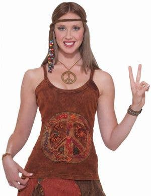 Women's Brown Peace Sign Hippie Costume Top
