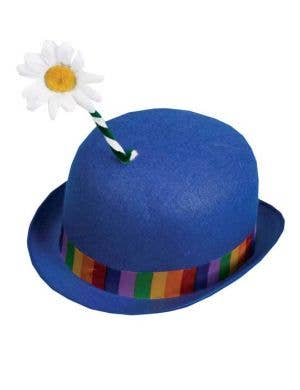Clown Bowler Hat With Flower In Blue
