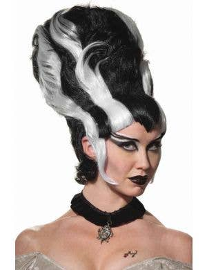 Lady Monster Black and White Beehive Wig