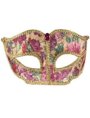 Floral Brocade Victorian Masquerade Mask