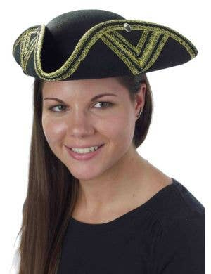 Gold Trimmed Tricorn Pirate Colonial Unisex Hat