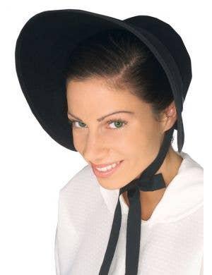 Colonial Women's Black Feltex Bonnet Hat